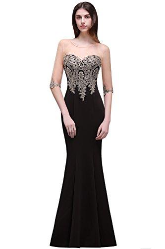 MisShow Women's Sexy Mermaid Appliuqe Sheer Top Long Evening Prom Dresses Black US14