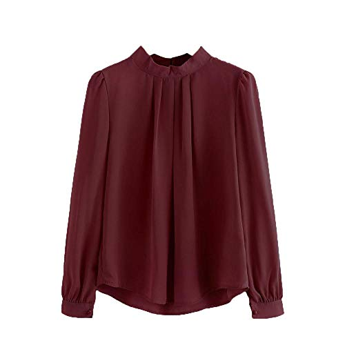 HGWXX7 Women Tops Lantern Long Sleeve Loose Chiffon Work Office T-Shirt Blouse(S,Wine) ()