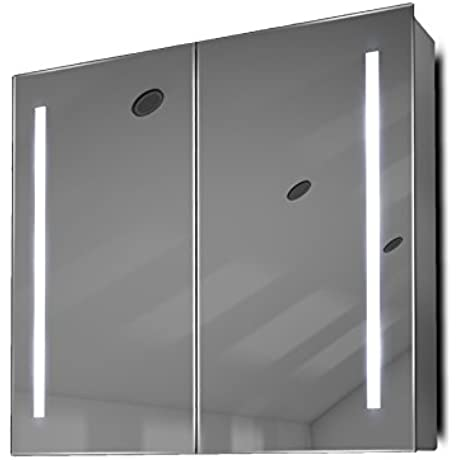 Bluetooth RGB Audio Bathroom Mirror Cabinet With Demister Shaver Sensor K360RGBaud