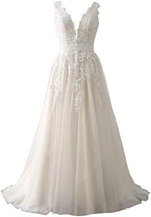 Abaowedding Women's Wedding Dress for Bride Lace Applique