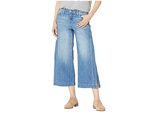 (Liverpool Women's Presley Crop Flare with Side Slits in a Classic Soft Rigid Denim in Foxhill Foxhill 10 25)