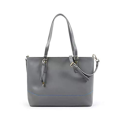 Womens Genuine Leather Handbag Urban Style Hobo Satchel Tote Bag Fashion Cross Body Bag (Grey) - Zip Top Fashion Tote