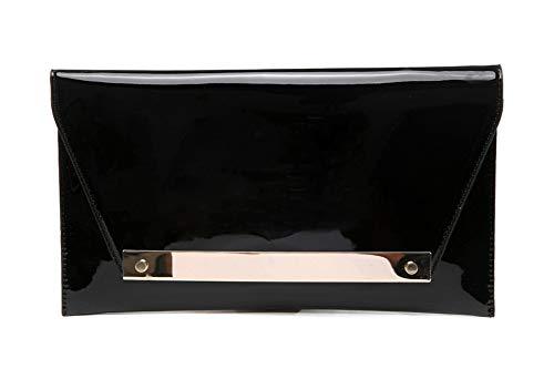 Fashion Cuir Verni Sac de soirée,Classique Enveloppe Crossbody Pochette Et d'autres Jours fériés Parti Bal Sacs à Main de soirée-Rouge 29x12cm(11x5inch) Noir