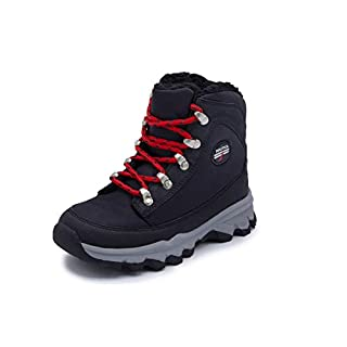 Nautica Kids Boys Youth Alx Snow Boot, Lace-Up Winter Shoe with Sherpa Fur Collar-Black/Red -1