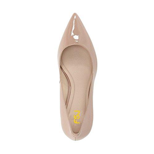 Bombas Formales Clásicas De Las Mujeres De Fsj Zapatos De Tacones Gruesos Del Dedo Del Pie Acentuado Para La Ocasión Del Negocio Tamaño 4-15 Ee. Uu. Beige