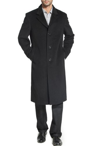 BGSD Mens Henry Cashmere Blend Long Walking Coat,Black,X-Large