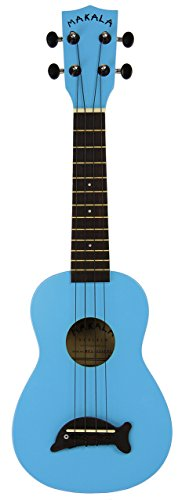 Kala MKA-SD-LBL Makala Dolphin Soprano Ukulele - Light Blue Bundle with Gig Bag, Tuner, Austin Bazaar Instructional DVD, and Polishing Cloth