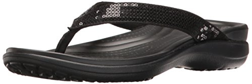 crocs Women's Capri V Sequin W Flip Flop, Black, 10 M US