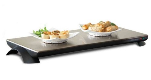 Toastess TWT-40 Silhouette 1000-Watt Cordless Classic Stainless-Steel Warming Tray, 4 Plate
