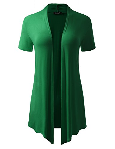 BH B.I.L.Y USA Women's Short-Sleeve Open Front Drape Cardigan with Side Pockets Kelly Green XX-Large