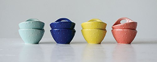 Sapphire Mint - Glossy Mustard, Sapphire, Coral, And Mint 3 x 2 Stoneware Berry Bowls, Set of 4