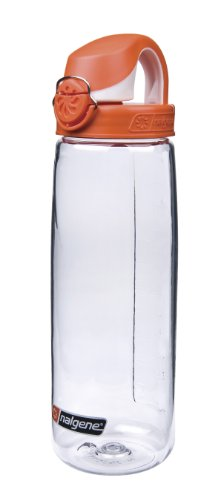 Nalgene Tritan On The Fly Water Bottle, Clear with Orange/White, 24Oz