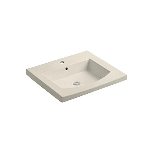 KOHLER K-2956-1-47 Persuade Curv Top and Basin Bathroom Sink with Single-Hole Faucet Drilling, Almond -