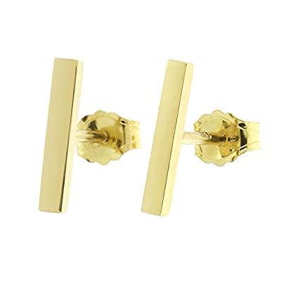 Automic Gold Solid 14k Yellow, White or Rose Gold Bar Earrings from Automic Gold