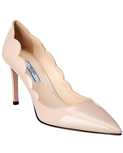 Patent Prada Leather Pumps (Prada Scalloped Pointy-Toe Patent Pump, 36.5, Brown)