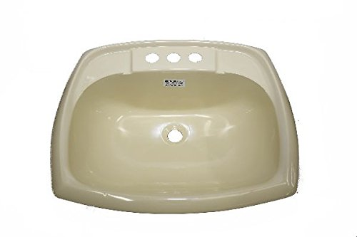 17'' x 20'' Bone Rectangular Lavatory Sink for Mobile Homes Includes Drain by Mobile Home Parts