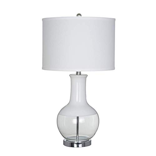 Amazon Brand – Stone & Beam Modern Glass Table Lamp With Light Bulb And White Shade - 15 x 15x 28 Inches, White