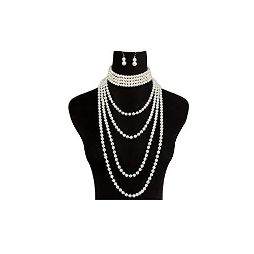LuckyHouse Multi Layer Simulated Faux Pearl Strands Necklace Costume Jewelry Set for Women Girls Necklace and Earrings