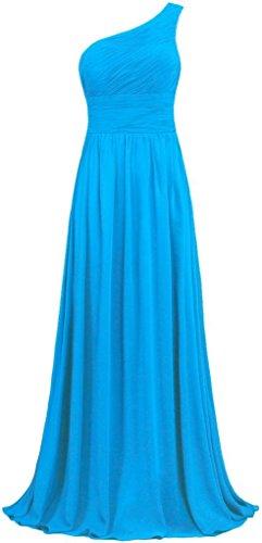 Brautjungferkleider Shoulder Ballkleider Purple Abendkleider Fanciest Chiffon Lang Damen Blue Kleider One UxSWw4g1q