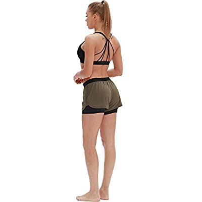icyzone Running Yoga Shorts for Women - Activewear Workout Exercise Athletic Jogging Shorts 2-in-1: Clothing