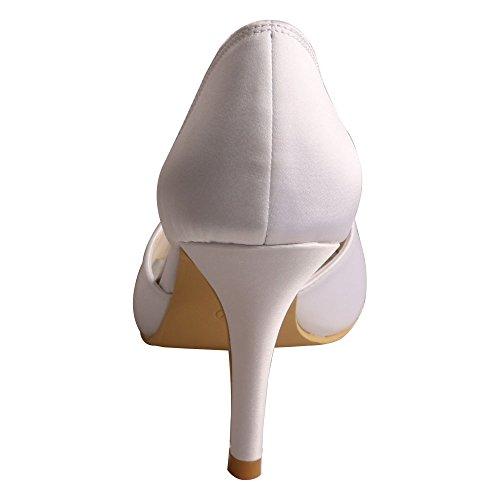 Wedopus Wedding White Toe Bridal Peep Women's Heel Bowtie Rhinestone Shoes Satin MW511 High r1AvqZr