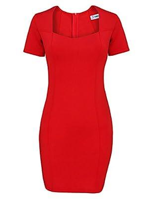 Tom's Ware Women Elegant Square Neck Short Sleeve Bodycon Dress