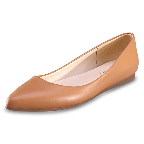 (Women's Flat Shoes Classic Leather Casual Pointed Toe Slip On Shoes Ballet Flats Brown )