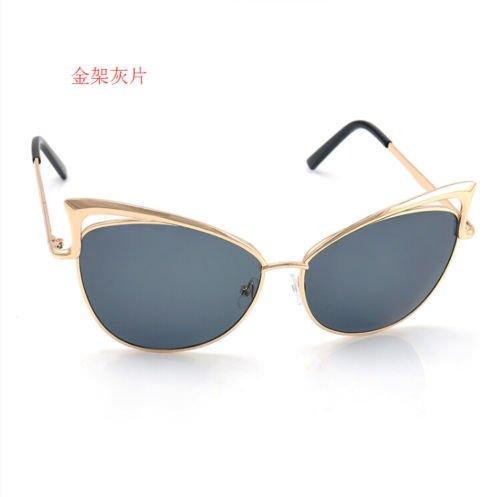 XENO-Women's Gold Retro Cat Eye Sunglasses Classic Designer Vintage Fashion - Gold Cartier Sunglasses