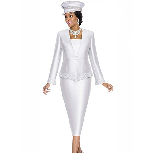 Satin Skirt Suit - Kueeni Women Church Suits with Hats Church Dress Suit for Ladies Formal Clothes White