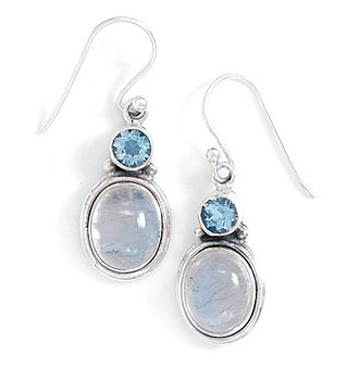 Faceted Blue Simulated Topaz / Simulated Moonstone Earrings Silvertone