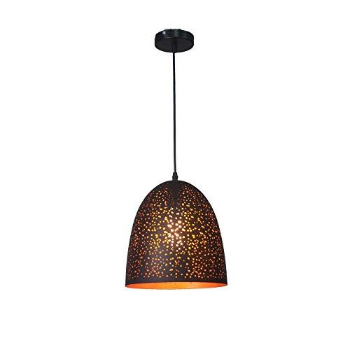 Bright vestibule Creative Nordic Chandelier Retro Loft Industrial Style Meal Etching Lampshade Chandelier Single Head Hollow Black Gold Lamps (Color : B) ()