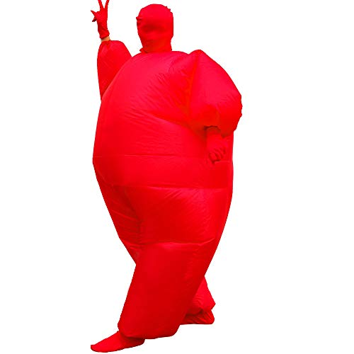 Inflatable Fancy Men's Chub Fat Masked Suit Dress Blow Up Halloween Party Costume (Red)