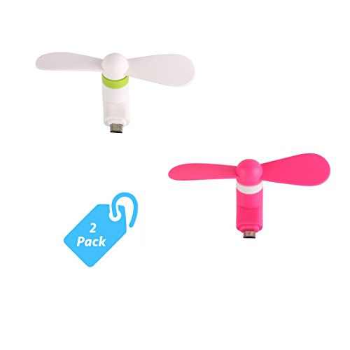 SyncTech Portable Cool Mini Rotating Fan for Micro-USB Ports Compatible with Samsung, LG, Motorola, HTC, etc. (3.) White - Pink)