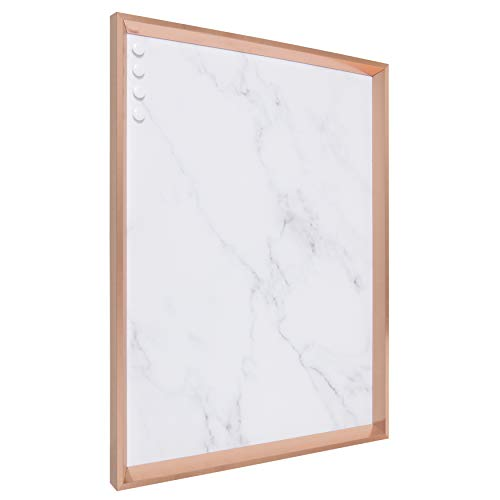 Kate and Laurel Calter Framed Decorative Magnetic Bulletin Board with Classic Glam Cararra Marble Design, 21.5x27.5, Rose Gold ()