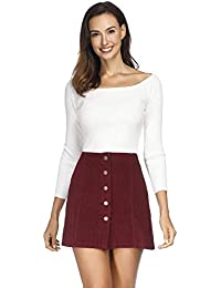 Women High Waist Single Breasted Corduroy Skirt Red Small