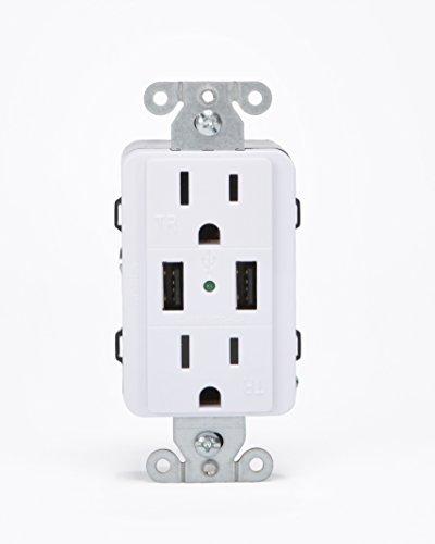 ocket Decorator Duplex Dual Outlet Dual USB, 110V, 15AMP TruePower, White (Dual Gang White Decorator)