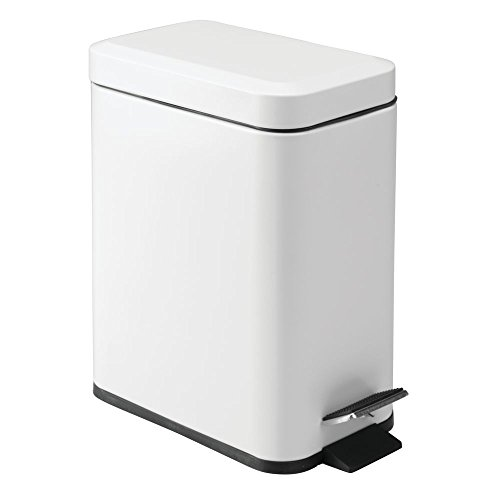 mDesign 5 Liter Rectangular Small Steel Step Trash Can Wastebasket, Garbage Container Bin for Bathroom, Powder Room, Bedroom, Kitchen, Craft Room, Office - Removable Liner Bucket - Matte White (White Pedal Bin)