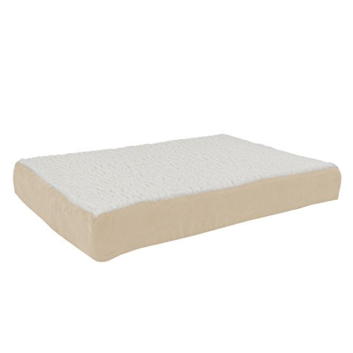 Orthopedic Sherpa Top Pet Bed with Memory Foam and Removable Cover 30x20.5x4 Tan by PETMAKER