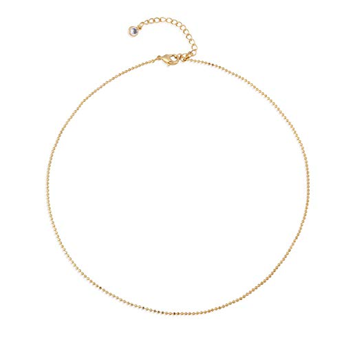 Mevecco Gold Bead Chain Choker Necklace,14K Gold Plated Cute Bead Satellite Chain Minimalist Choker Necklace for Teen Girls ()
