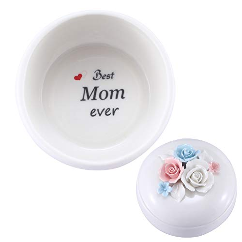 Mom Birthday Gifts Personalized Gifts for Mom from Daughte/Son, Ceramic Jewelry Box Ring Dish Decorative Trinket Box Home Decor, Thanksgiving Gifts Mom Gifts for Christmas (Jewelry Box (Round)) (Gifts Ceramic Personalized)