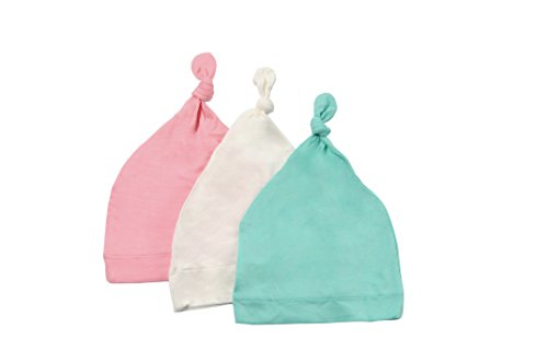 KYTE BABY Organic Bamboo Rayon Baby Beanie Hats - Super Soft Knotted Caps Available in Pattern and Solid Colors - 3 Pack (3-6 Months, Cloud/Petal/Aqua)