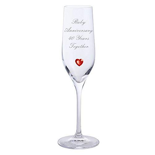 Chichi Gifts 2 Ruby Anniversary 40 Years Together Pair of Dartington Champagne Flutes Glasses with Red Heart Gem