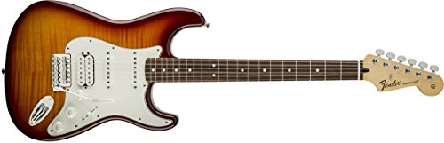 Fender Standard Stratocaster Electric Guitar - HSS - Flame Maple Top - Pau Ferro Fingerboard, Tobacco (Pro Flame Top Electric Guitar)