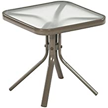 18x18 in square steel side end table tempered glass tabletop patio garden outdoor furniture tan by garden treasures - Garden Treasures Patio Furniture