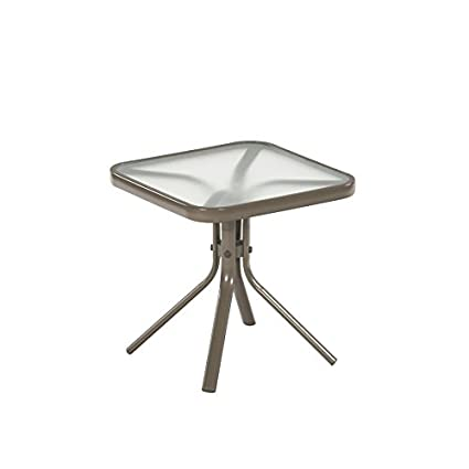 Outdoor Taupe Steel Side Table Small Square Tempered Glass Top For Patio,  Yard Or Porch