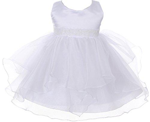 BNY Corner Infant Baby Toddler Flower Dress Sleeveless Beading Ruffles Dress White S B111 (Corner Church)
