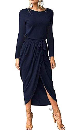 ECHOINE Women Formal Long Sleeve Work Dress Cocktail Party High Slit Navy Blue (Cocktail Navy Blue)