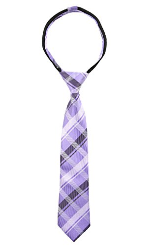 Spring Notion Boys' Pre-tied Woven Zipper Tie Large Lilac Plaid