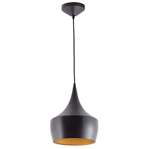 Globe Electric 1-Light Small Modern Industrial Pendant, Oil Rubbed Bronze, Gold Inner Finish, 1x A19 60W Bulb (sold separately), 63871 by Globe Electric (Image #2)