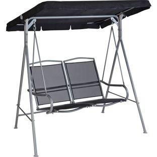 Malibu 2 Seater Garden Swing Chair Black Amazon Co Uk Garden